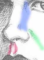 Рисовать нос карандашом